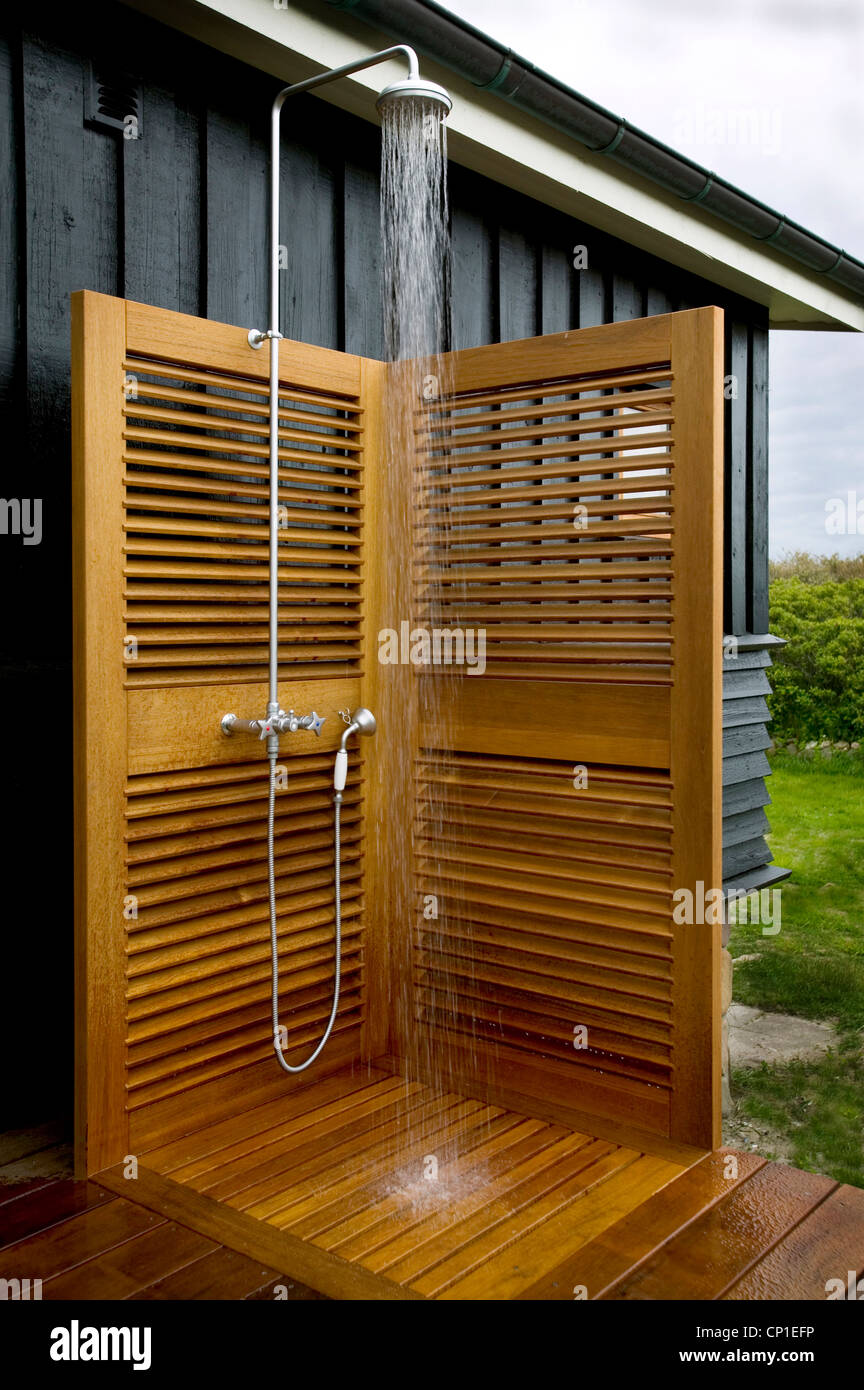 Water Running From Shower Tap Fitting In Outdoor Shower