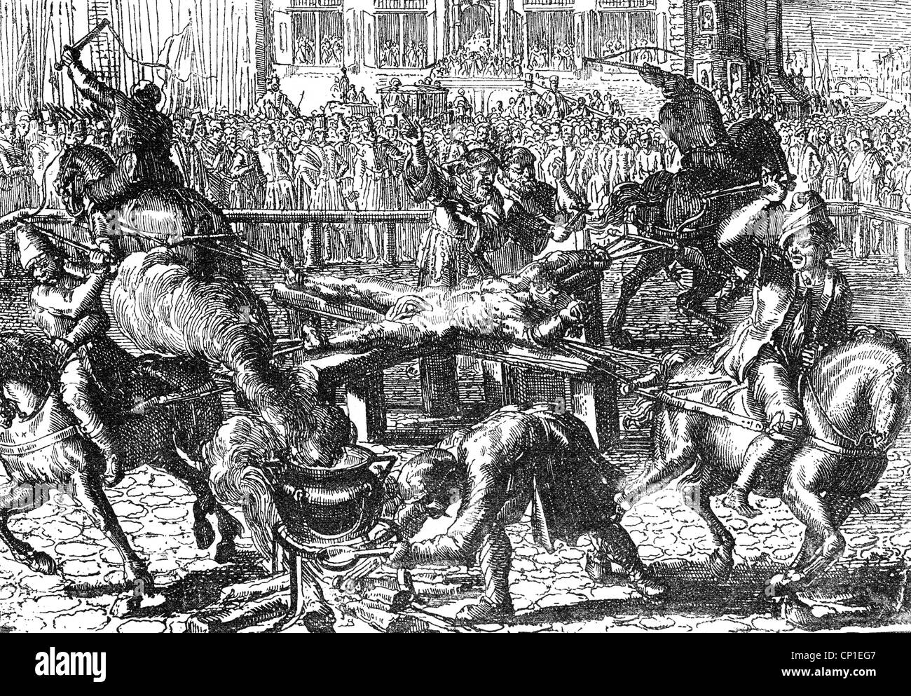 Ravaillac, Francois, 1578 - 27.5.1610, French murderer, death, execution at  Place de Greve, Paris, copper engraving, 17th century, Artist's Copyright  has ...