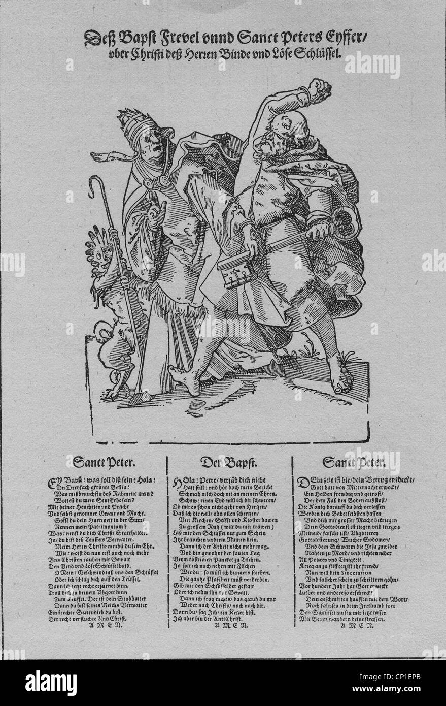 """events, Protestant Reformation, 1517 - 1555, flyer, satire, """"The pope's sacrilege and Saint Peter's fury"""", woodcut, Stock Photo"""