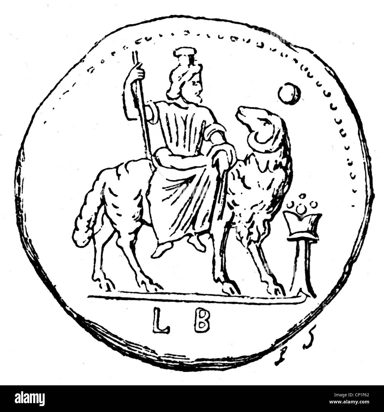Zeus (Latin: Jupiter), Greek 'divine king', leader of gods, god of sky and thunder, verso of a bronze coin - Stock Image