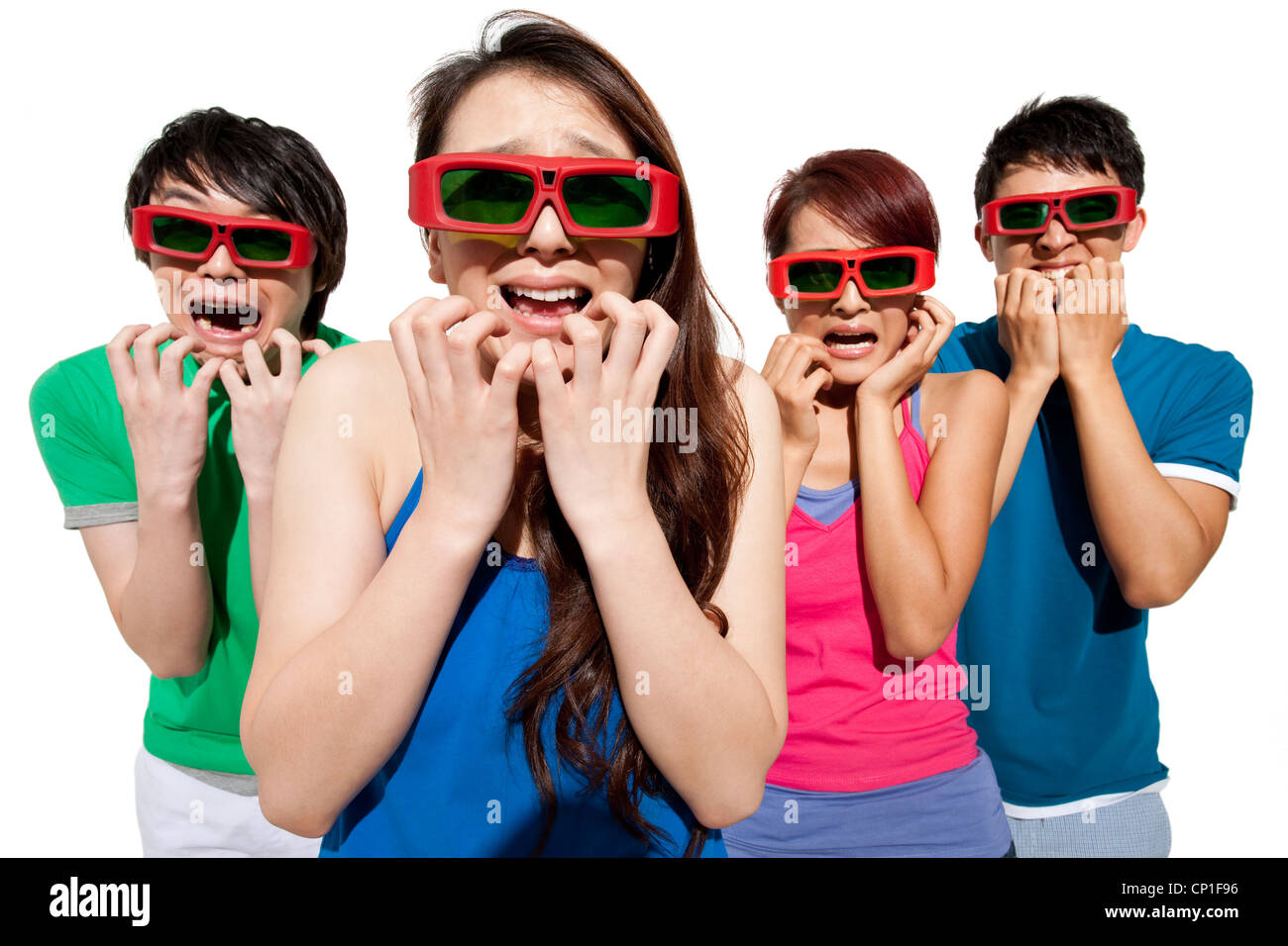 Young people waching 3D movie - Stock Image
