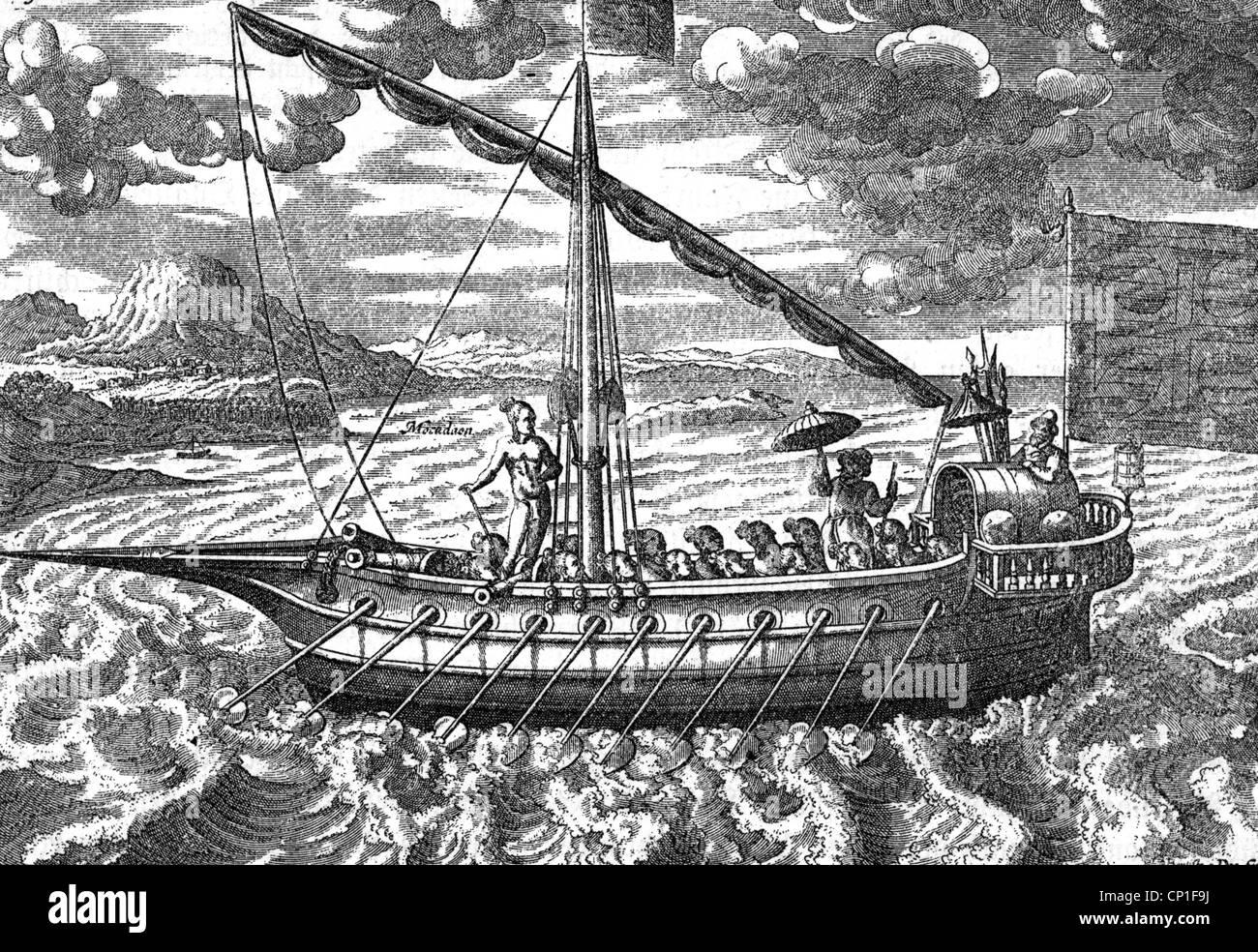 transport, navigation, sailing ship, East Indian celox, woodcut after Jan Huygens van Linschoten 'Itinenarium - Stock Image