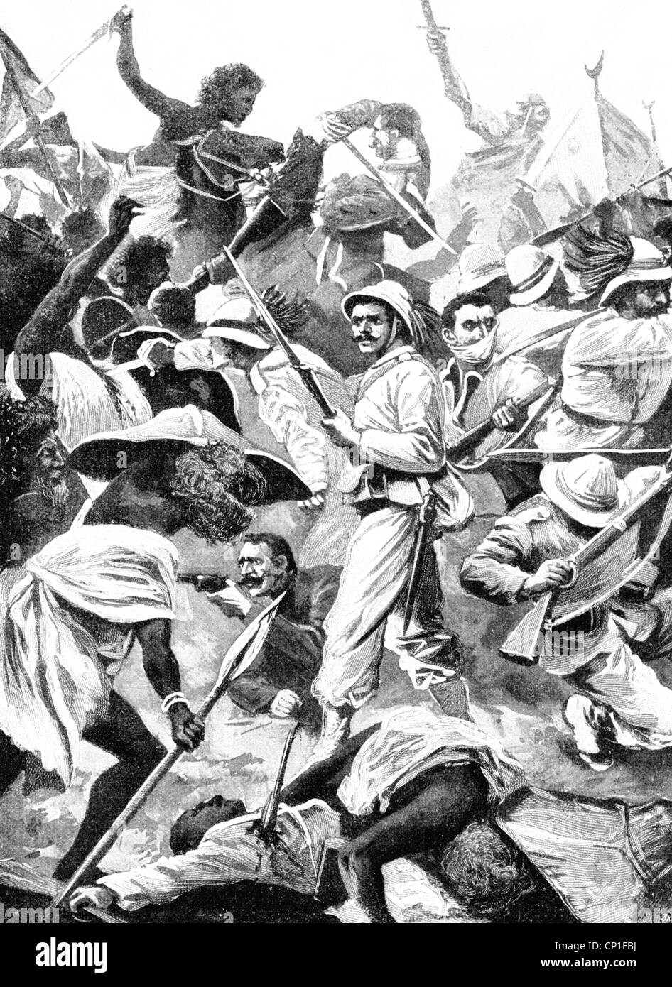 events, First Italo-Ethiopian War, 1893 - 1896, Battle of Adwa, 1.3.1896, contemporary wood engraving, the Ethiopian - Stock Image