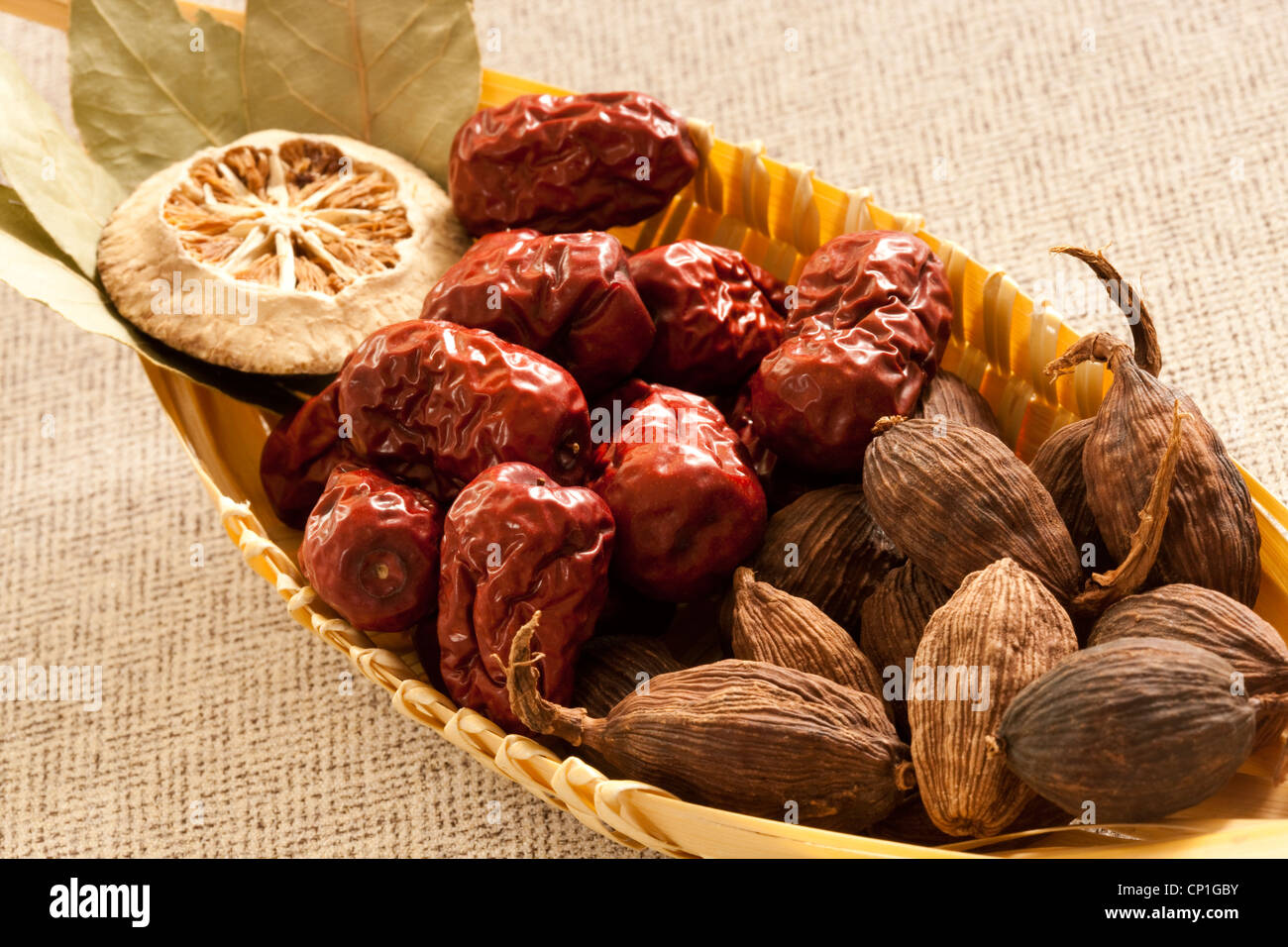 Close-up of different spices - Stock Image