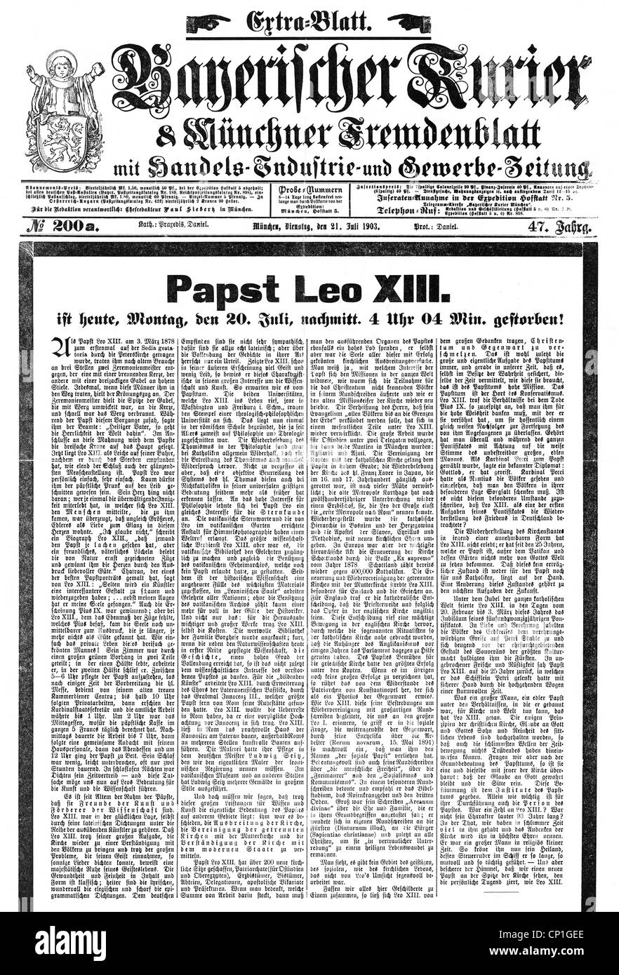 Death Of Pope Leo Xiii Stock Photos & Death Of Pope Leo Xiii Stock ...