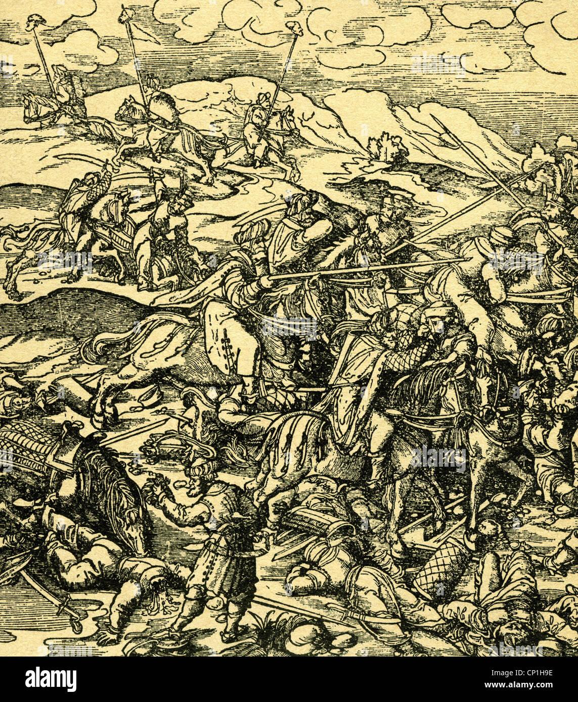 events, Ottoman Wars, battle scene, woodcut, circa 16th century, historic, historical, Ottomans, Ottoman Empire, - Stock Image