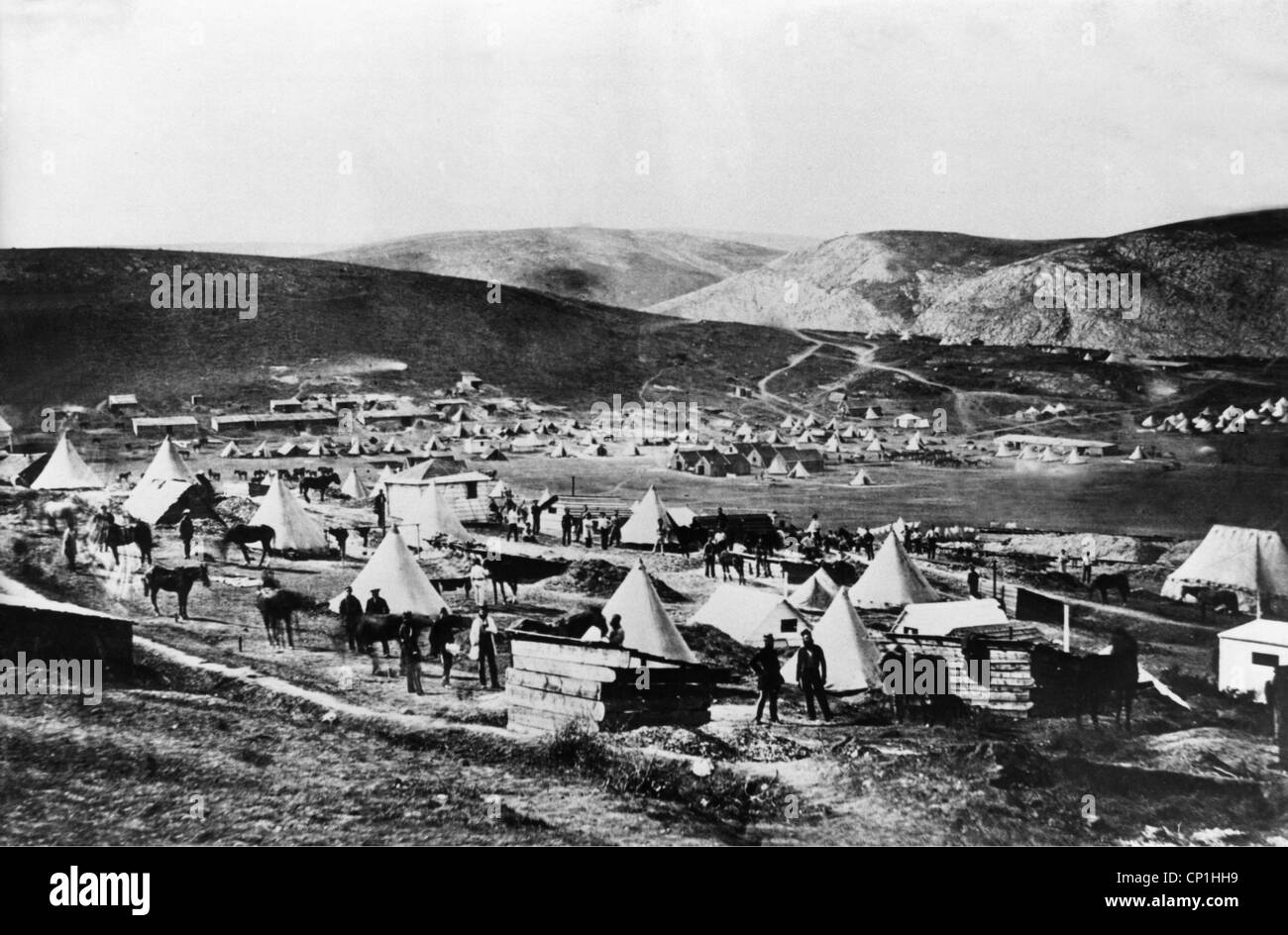 Crimean War 1853 - 1856, siege of Sevastopol 17.10.1854 - 9.9.1855, camp of the British 5th Dragoon Guards, photograph - Stock Image