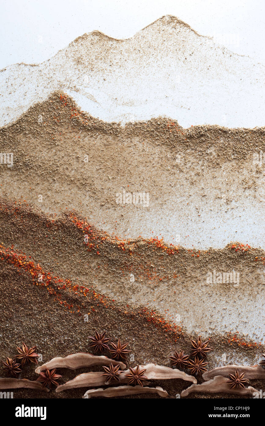 Creative painting made of different spices - Stock Image