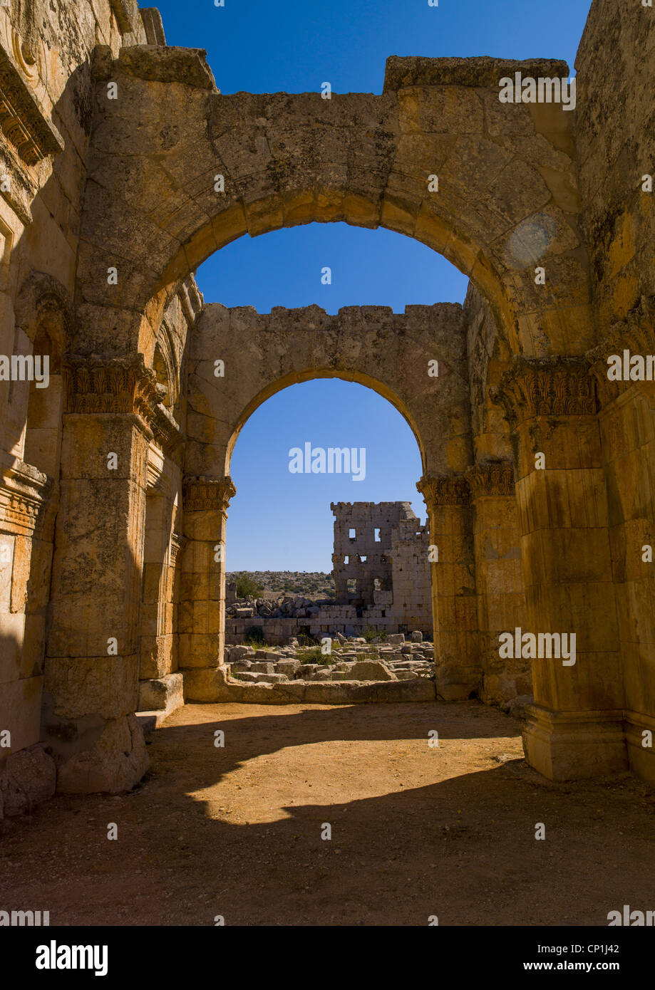 Arches of Qalaat Samaan In The Church of Saint Simeon , Syria - Stock Image