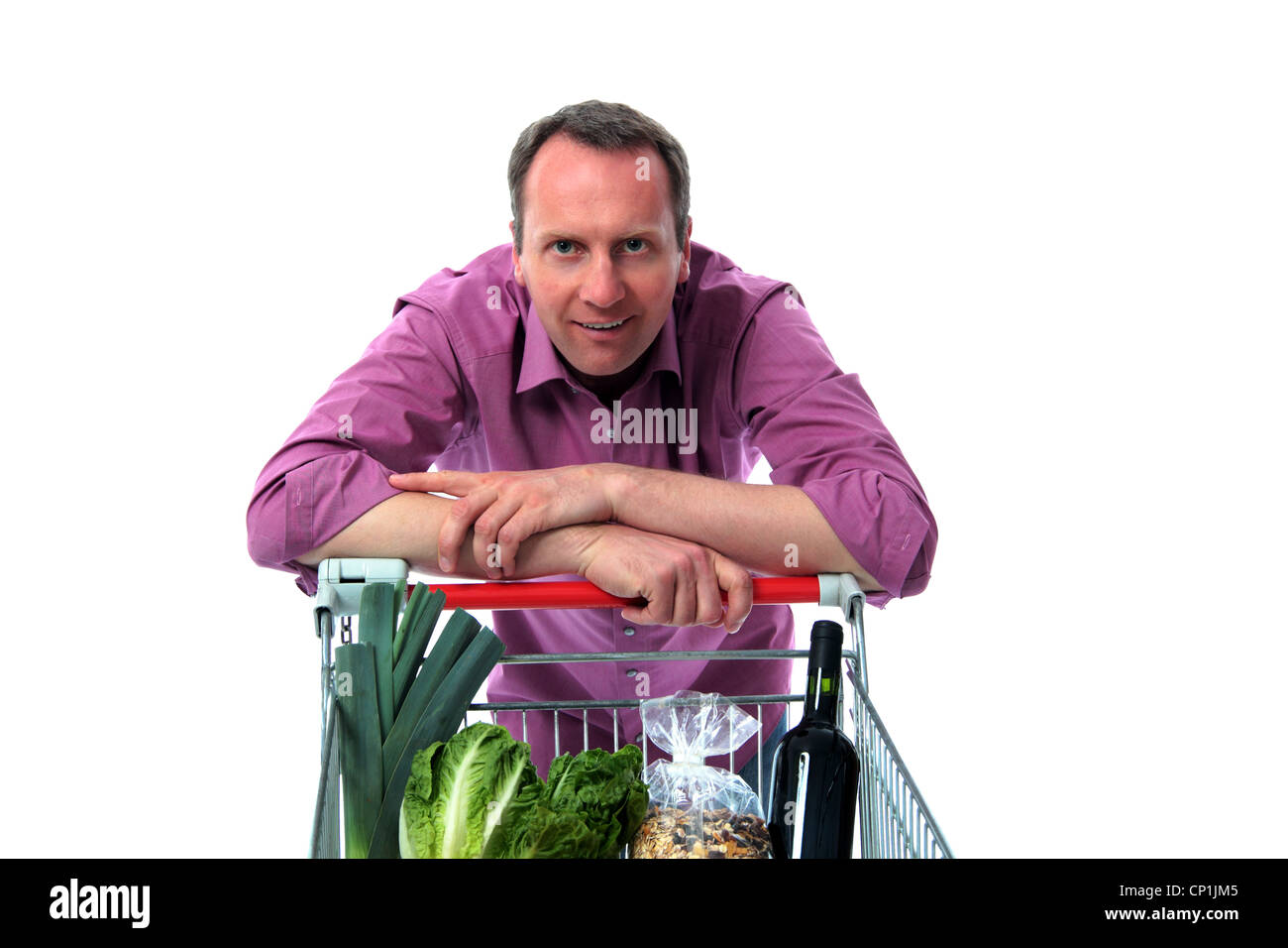 Man leaning on shopping cart Stock Photo: 47979797 - Alamy