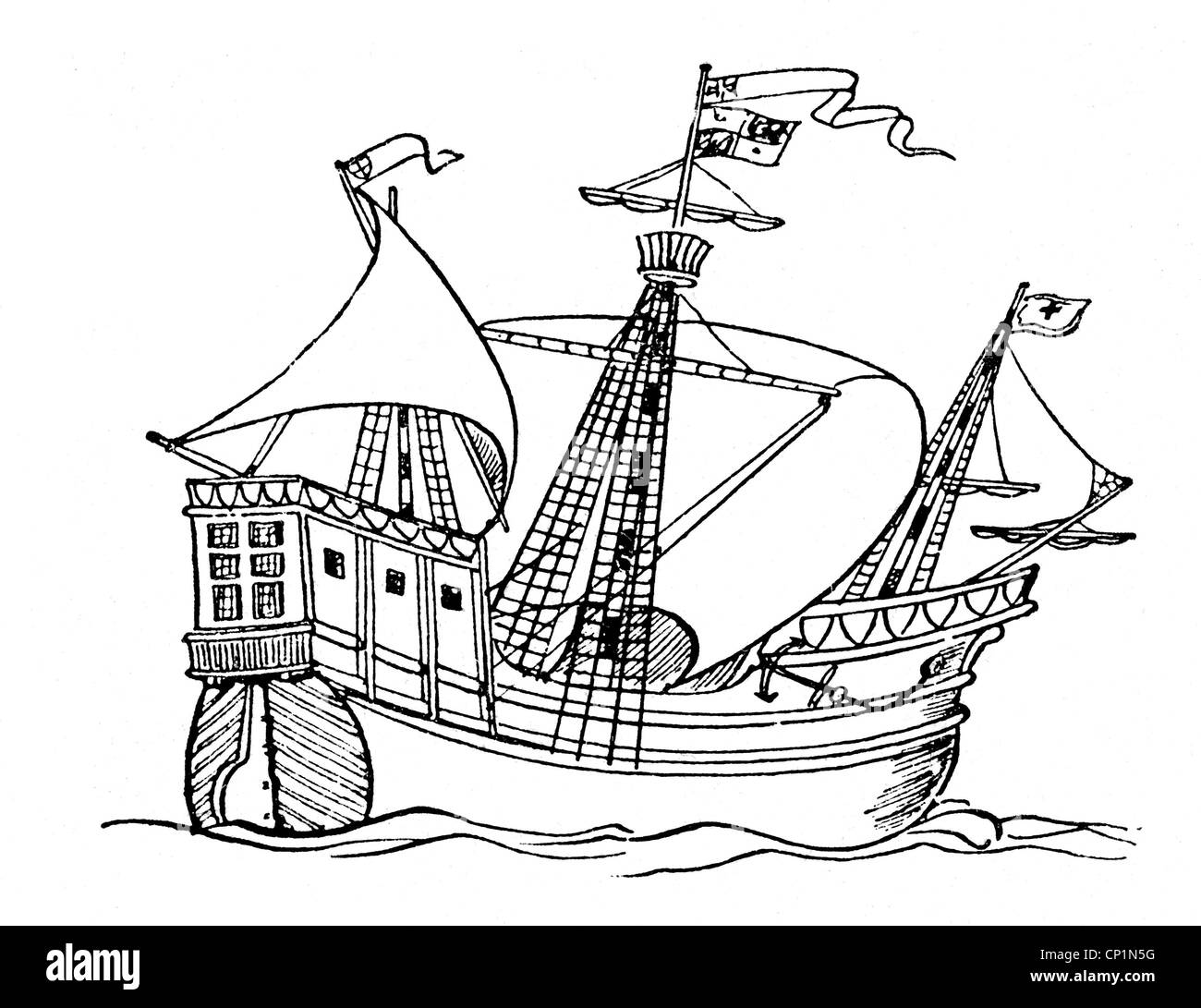 transport / transportation, navigation, sailing ships, caravel, caravel from the late 15th century, wood engraving, - Stock Image