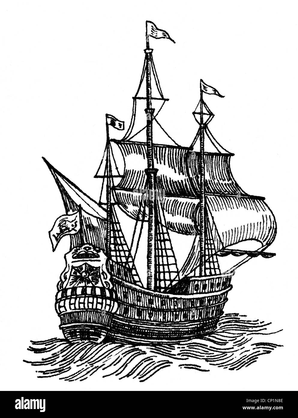 transport / transportation, navigation, sailing ships, caravel, caravel from the 17th century, wood engraving, 19th - Stock Image