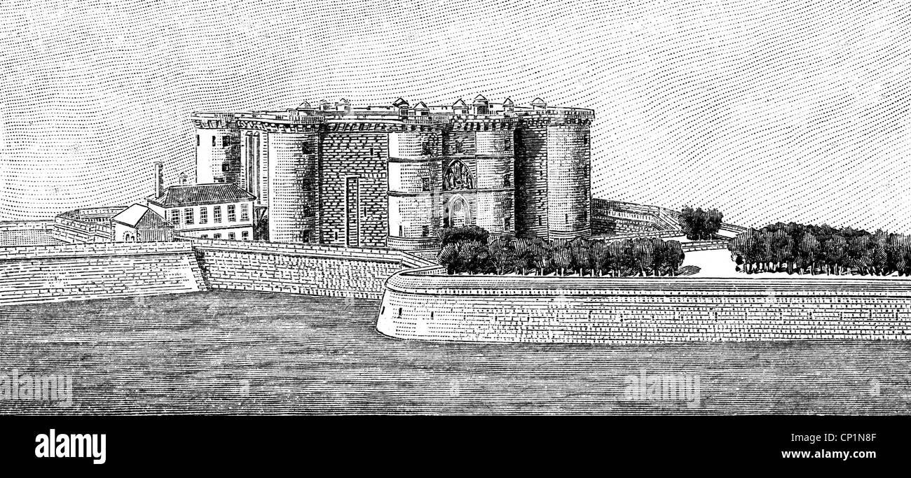geography / travel, France, Paris, Bastille, exterior view in the 15th century, wood engraving, 19th century, Bastion - Stock Image