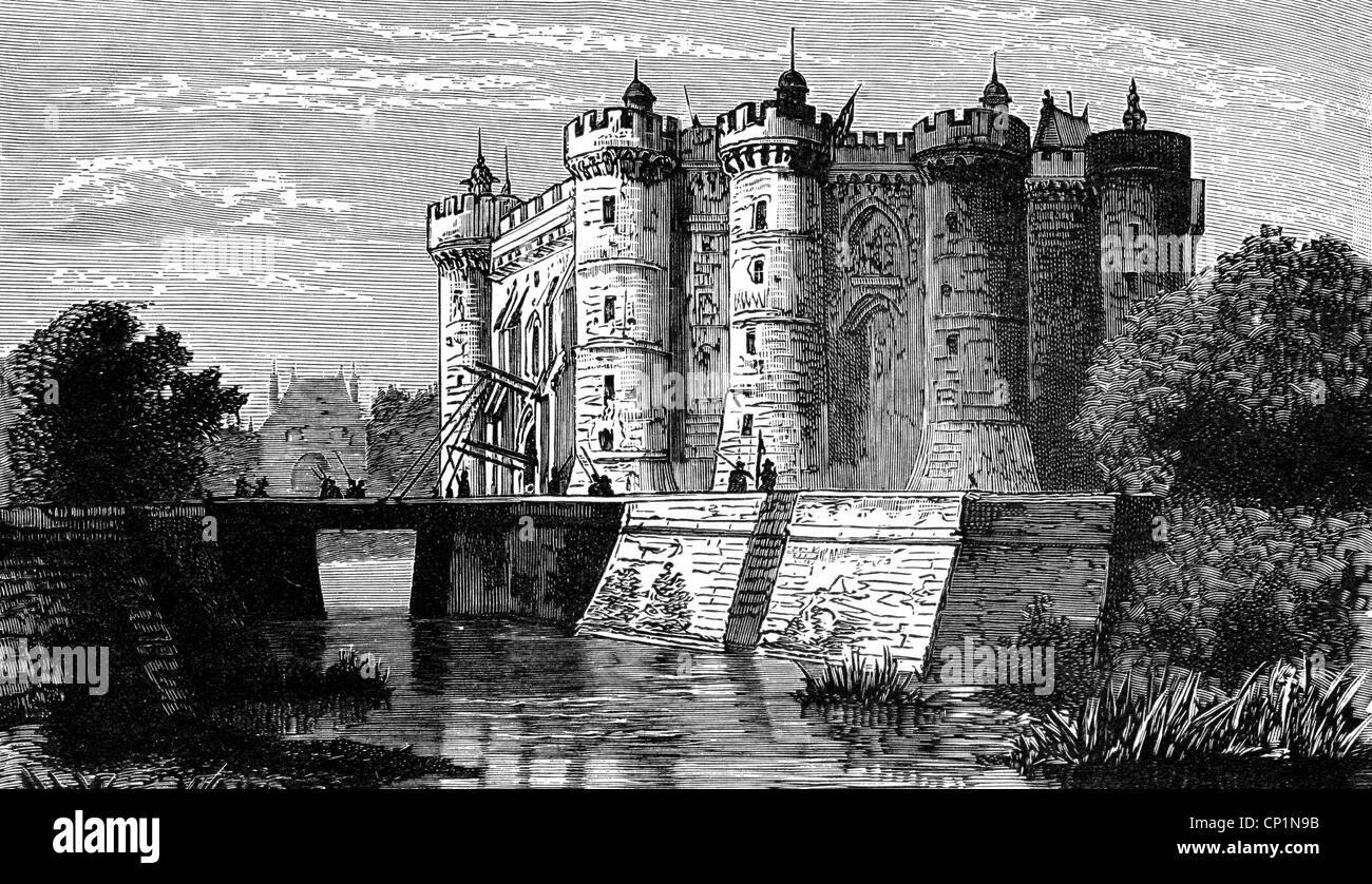 geography / travel, France, Paris, Bastille, exterior view in the 17th century, wood engraving, 19th century, Bastion - Stock Image