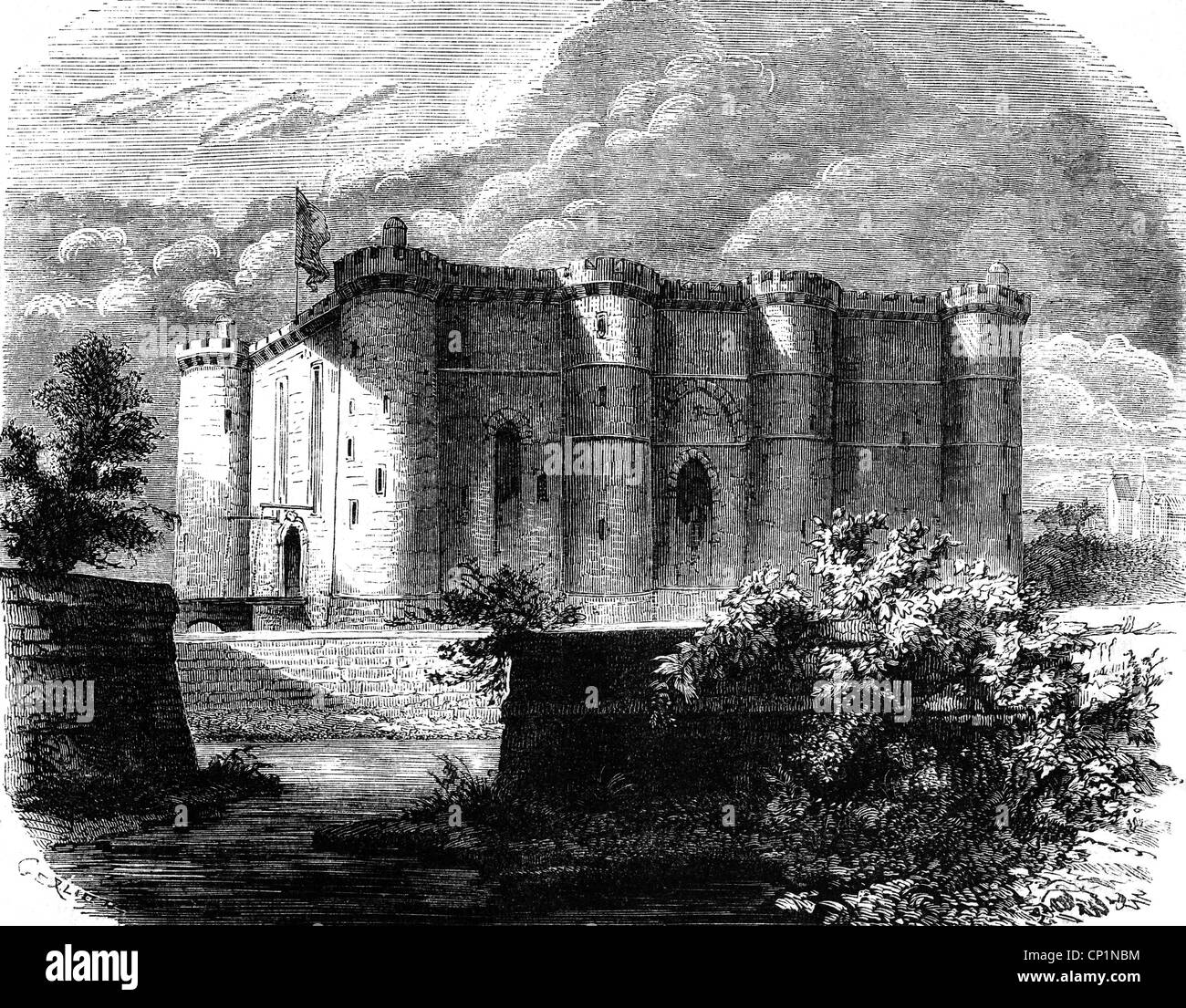 geography / travel, France, Paris, Bastille, exterior view in the 18th century, wood engraving, 19th century, Bastion - Stock Image