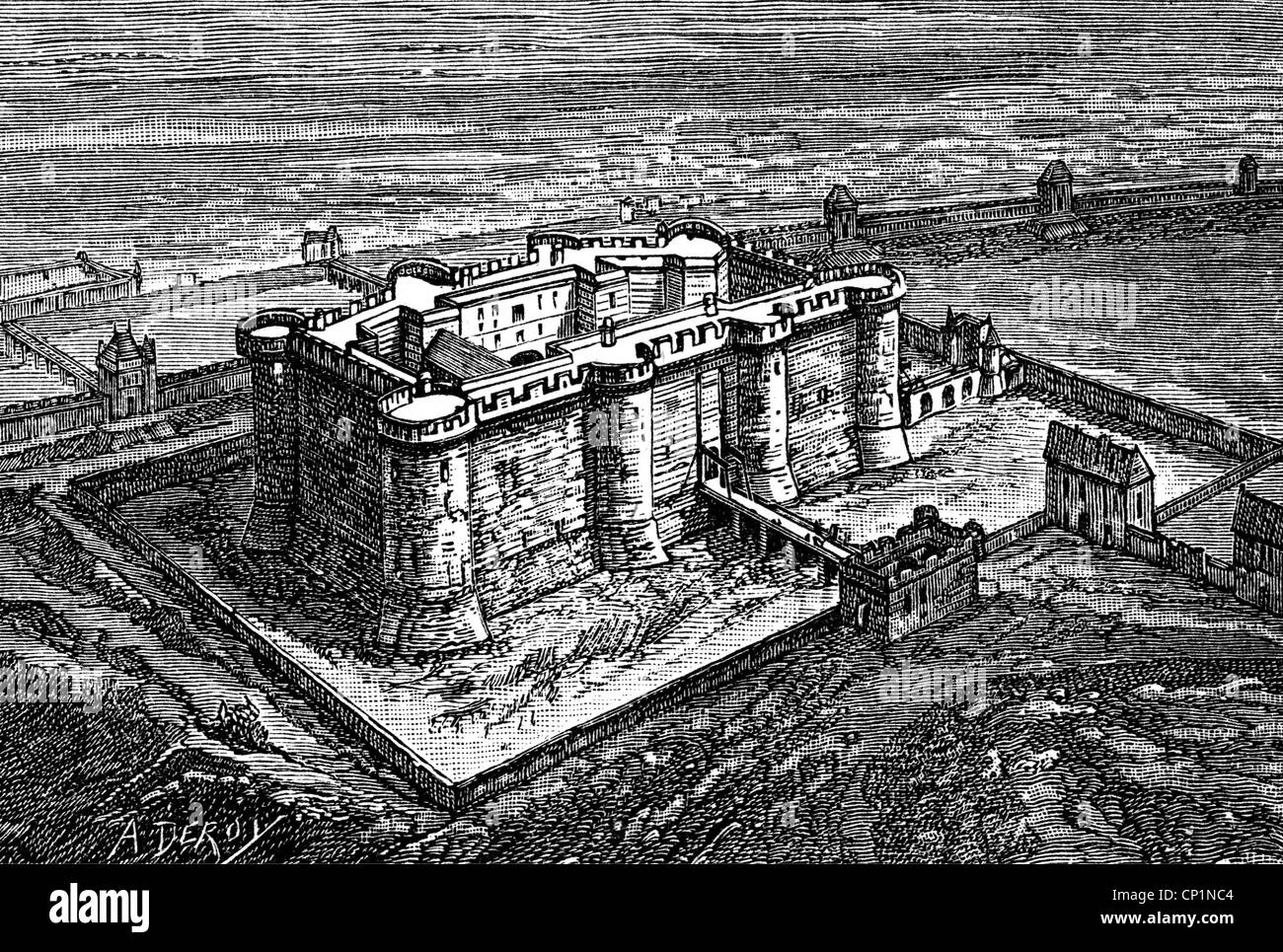 geography / travel, France, Paris, Bastille, exterior view late 18th century, wood engraving, 19th century, Bastion - Stock Image