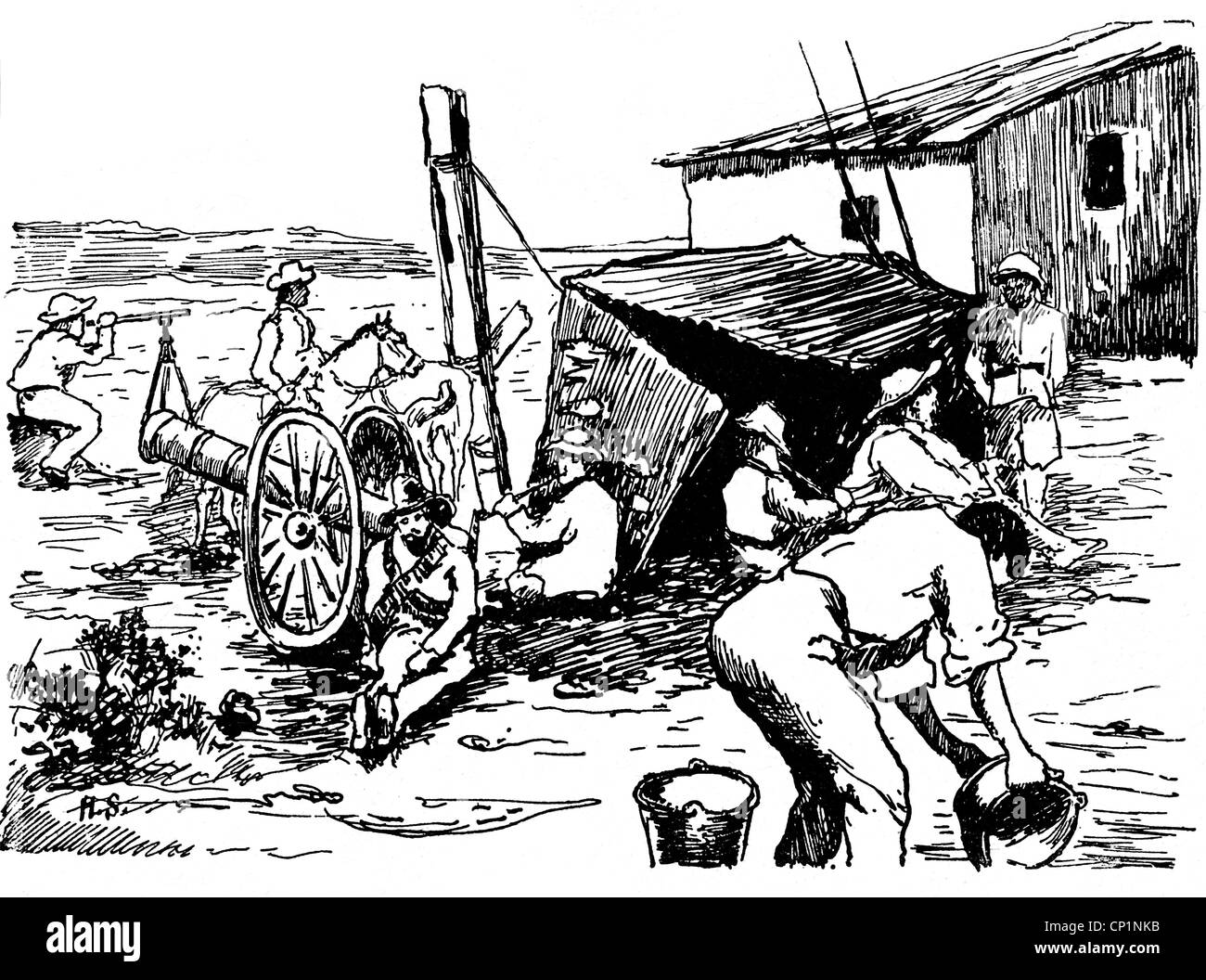events, Second Boer War 1899 - 1902, boers, in the camp of general Piet Cronje, drawing, 1903, South Africa, Transvaal, - Stock Image
