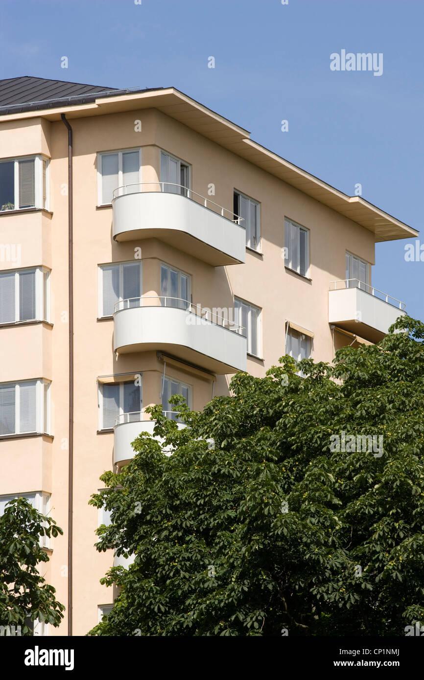 Functionalist Housing, Tessinparken, Gardet, Stockholm. - Stock Image