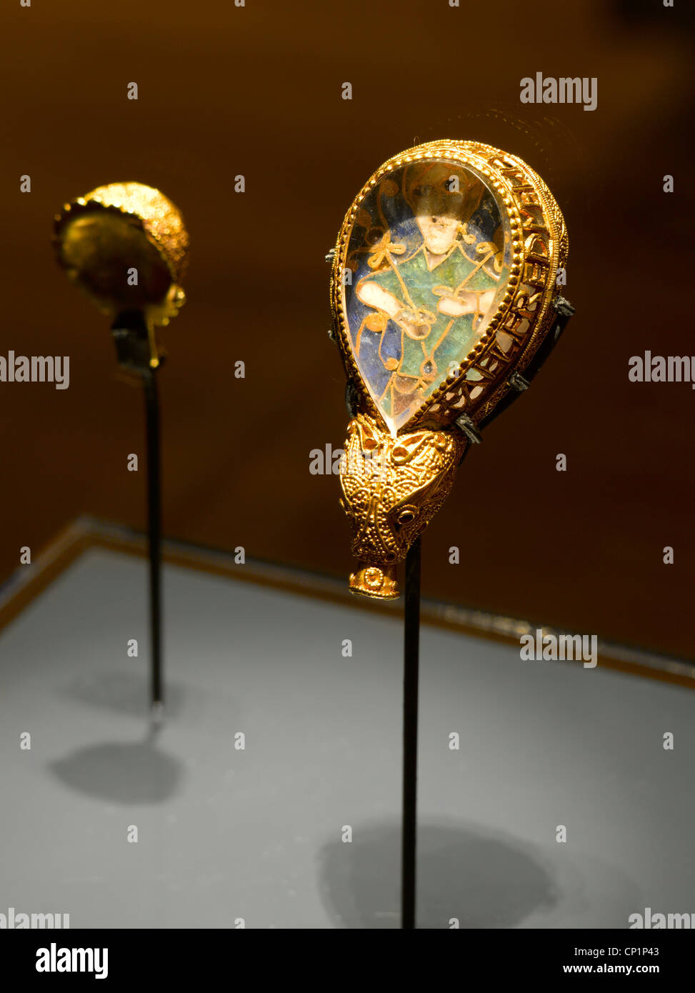 Display of Alfred Jewel, late 9th century Anglo-Saxon ornament in Ashmolean Museum - Stock Image