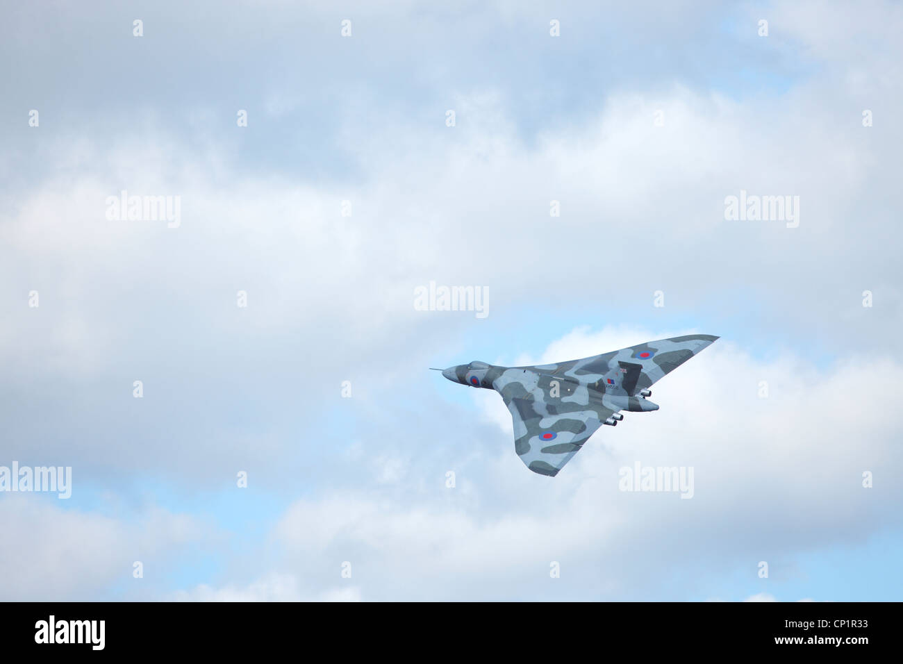 Avro Vulcan Bomber XH558  (civil aircraft registration G-VLCN) The Spirit of Great Britain, flying at Windermere - Stock Image