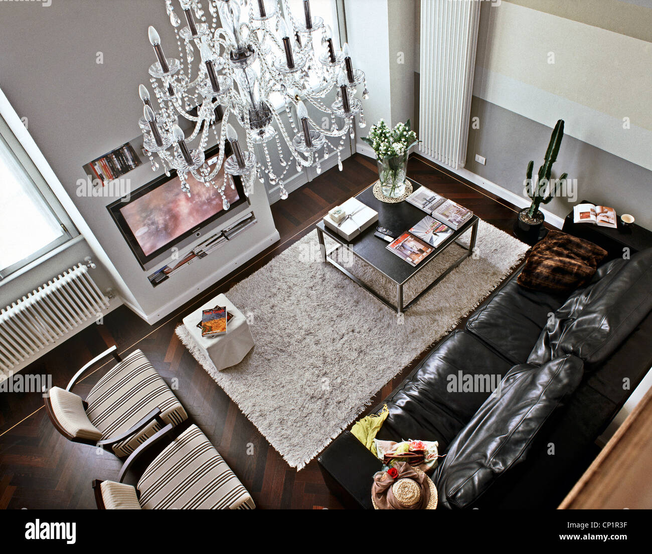 View From Above Of A Modern Living Room And Leather Sofa Stock Photo