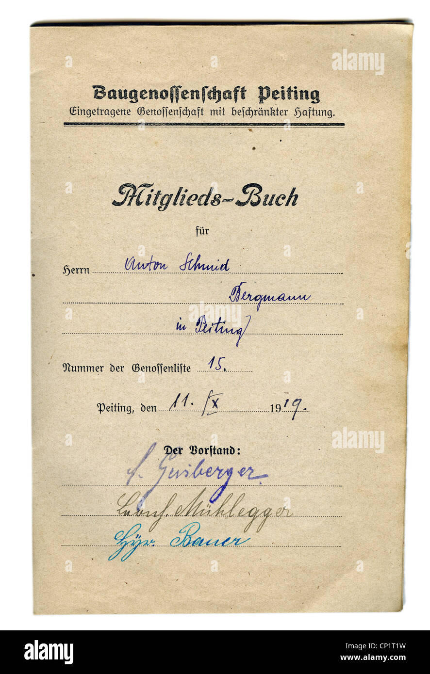 documents, membership book, Peiting cooperative building society, member Anton Schmidt, miner from Peiting, Germany, - Stock Image