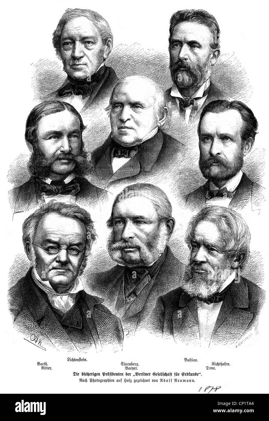science, geography, presidents of the Gesellschaft fuer Erdkunde zu Berlin (Society for Geography in Berlin), Lichtenstein, - Stock Image