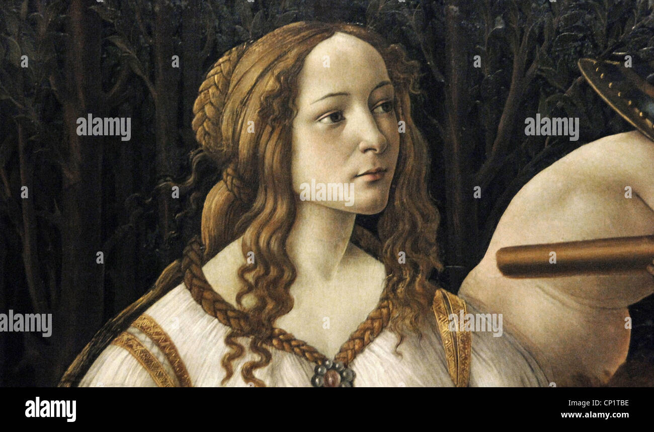Renaissance Art. Italy. Sandro Botticelli (1445-1510). Venus and Mars, c. 1483. Detail of Venus. Tempera on panel. - Stock Image