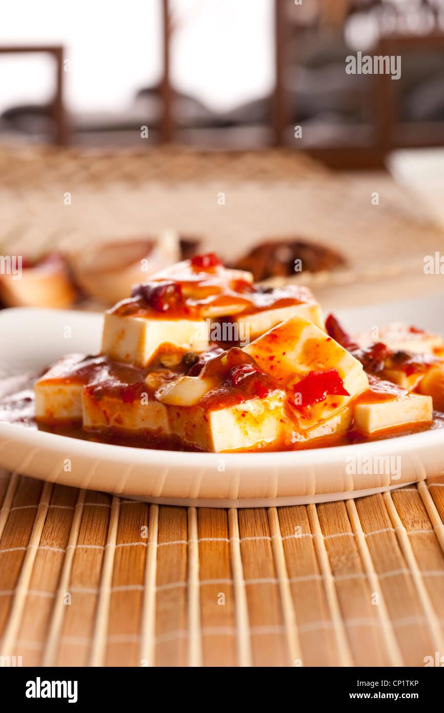 Close-up of Chinese Mapo Tofu Stock Photo
