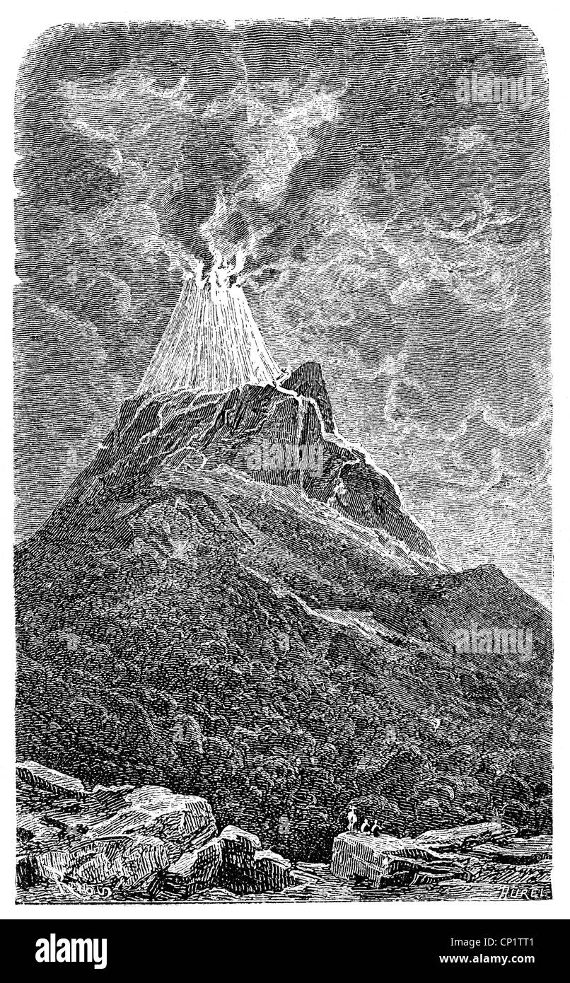 disasters, volcanos, Cotopaxi, Ecuador, erruption, wood engraving, 19th century, mountain, mount, Andes, Pacific - Stock Image
