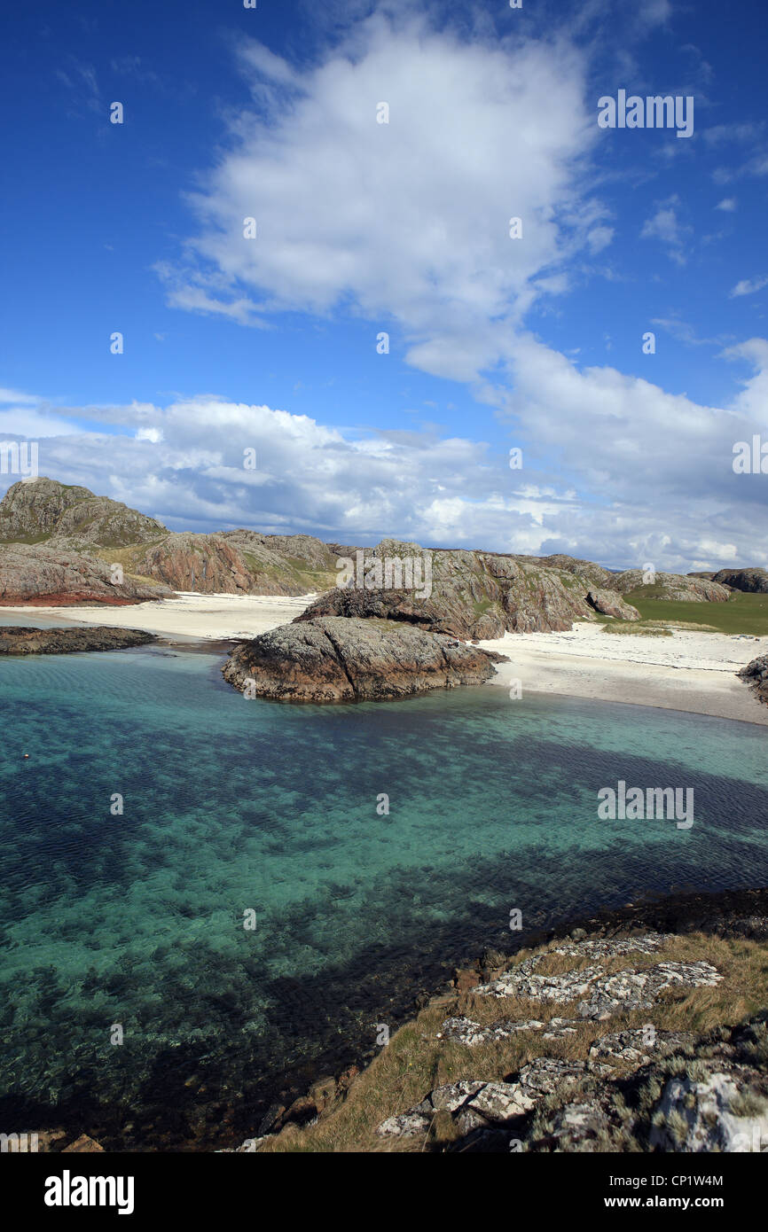 White sandy beaches of Port Ban on the Isle of Iona in Scotland - Stock Image