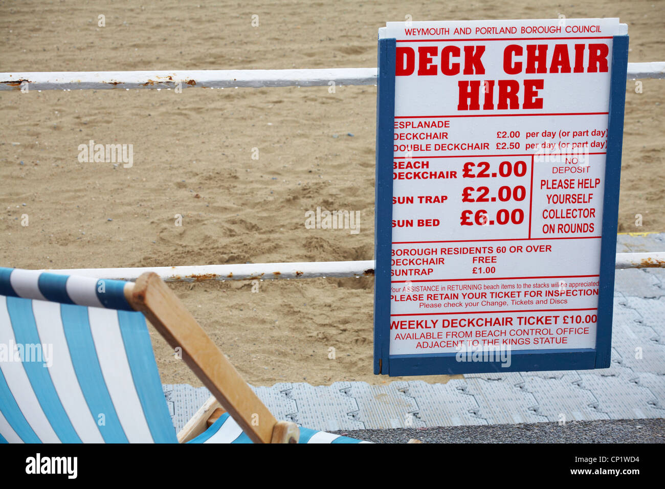 Deck chair hire charges at Weymouth beach in April - Stock Image