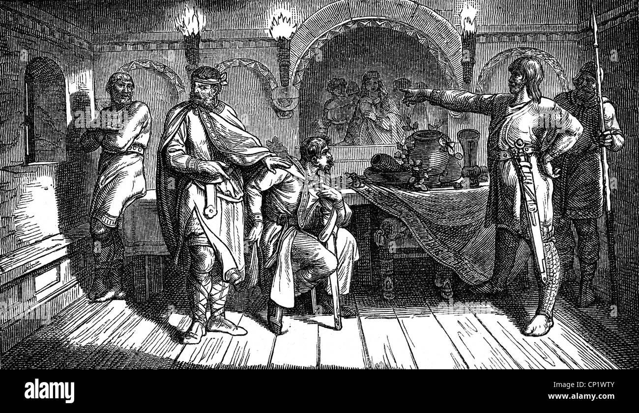 Bernard I, circa 950 - 9.2.1011, Duke of Saxony, scene, Bernard breaks his promise and refuses his consent to the Stock Photo