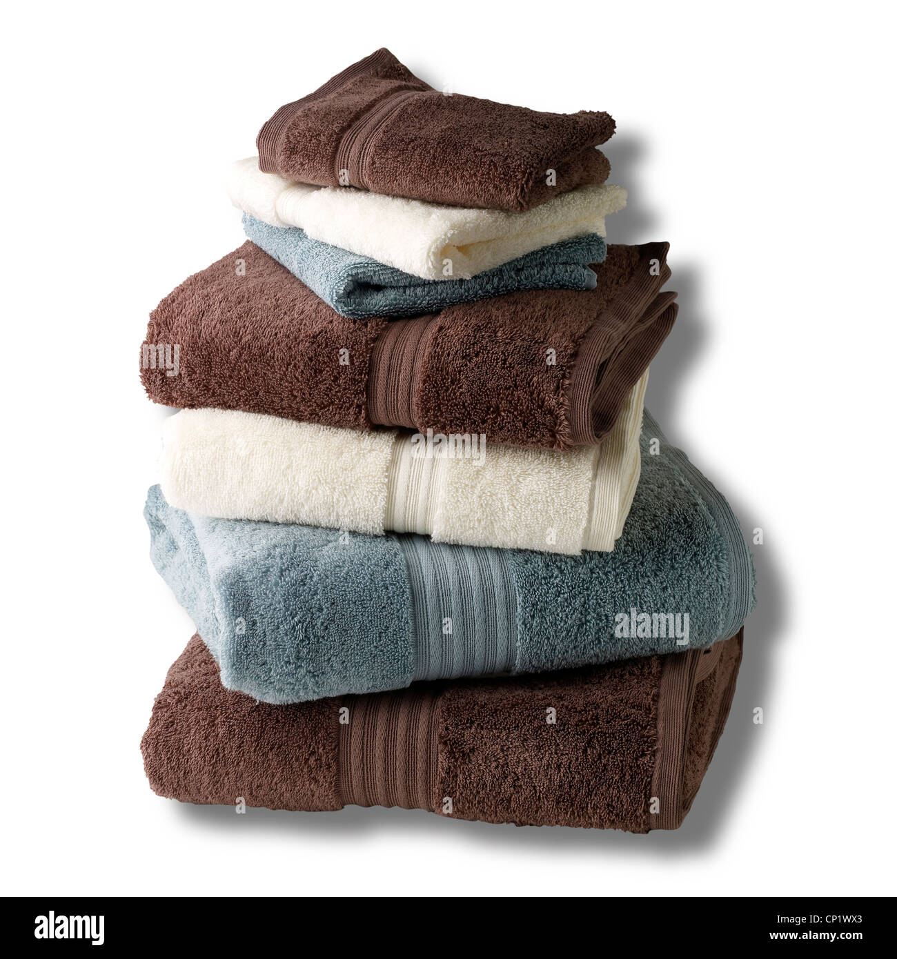 A still life shot of a stack of bath towels Stock Photo