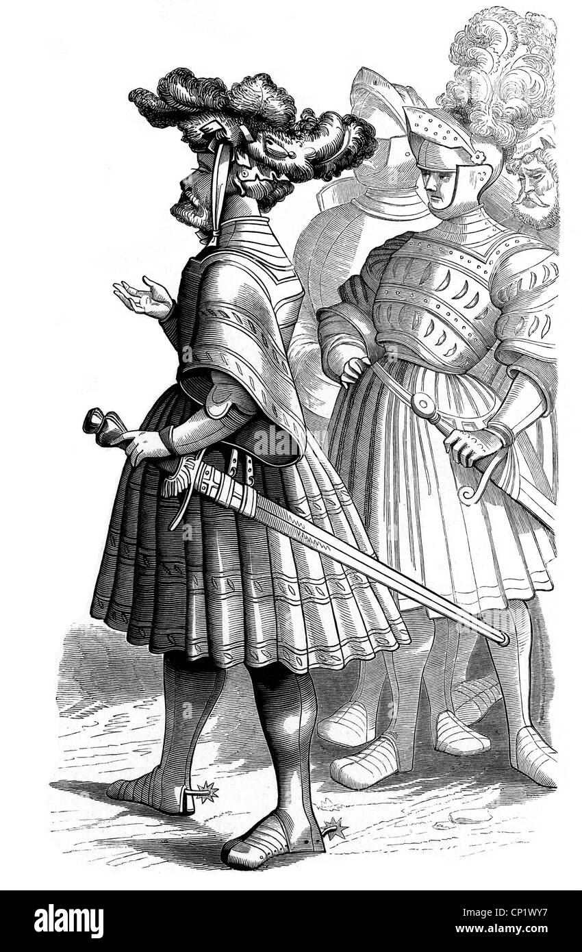 military, knights, German knights of the 16th century, woodcut by Hans Burgkmair (1473 - 1531), from the 'Triumph - Stock Image