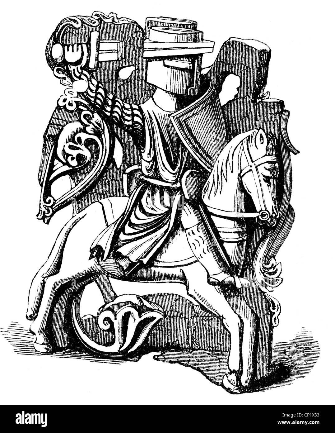 Middle Ages, knights, English knight at the beginning of the 13th century, wood engraving, 19th century, after an - Stock Image