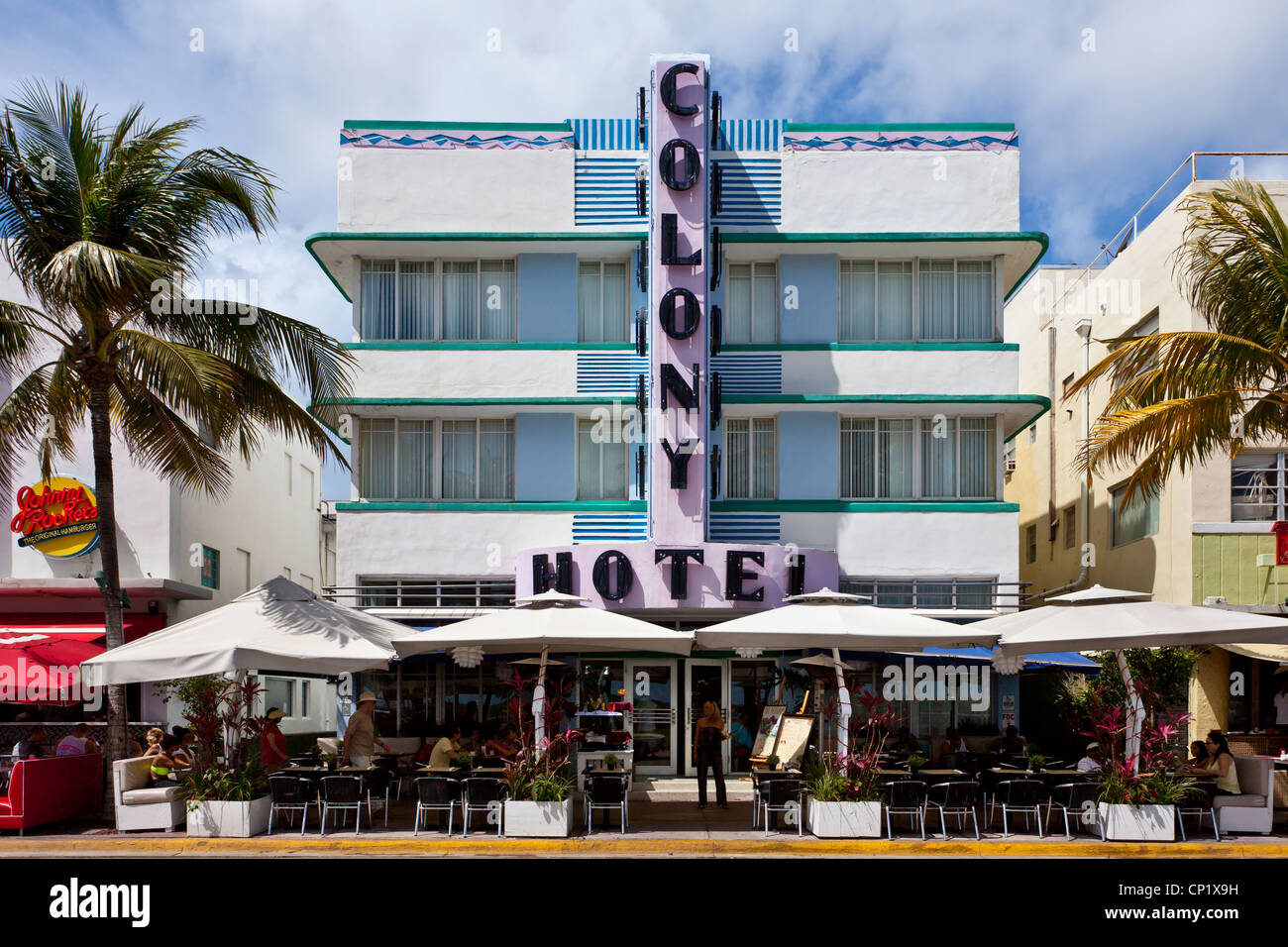 Art Deco architecture along Ocean Drive in Miami Beach, Florida, USA. - Stock Image