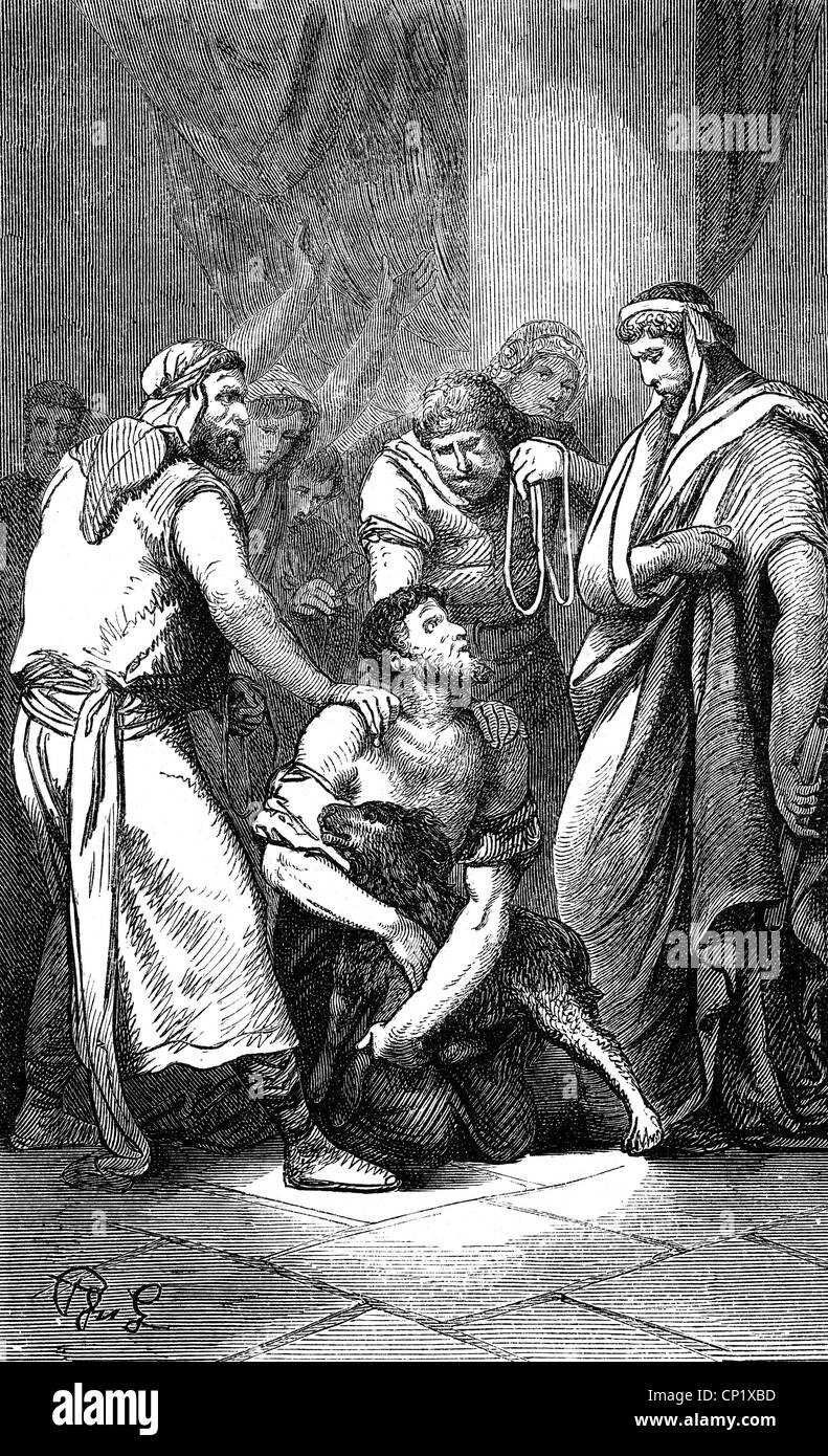 Ancient World, Migration Period, a Therving (Goth) sells himself as slave to the Romans in exchange for a dog, to - Stock Image