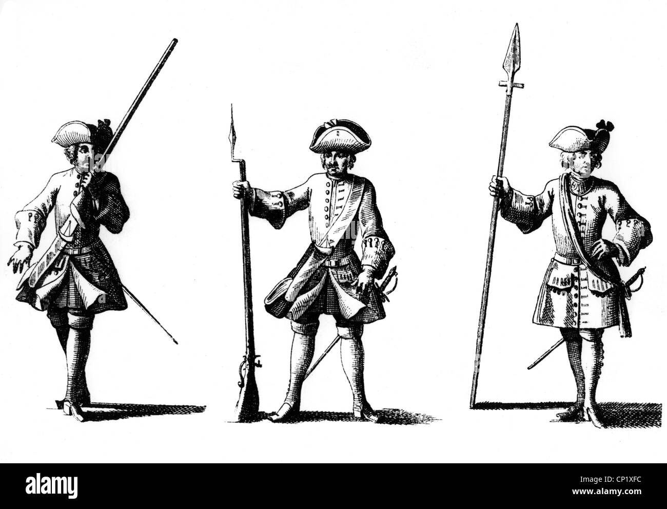 military, Germany, Saxony, infantrymen, early 18th century, illustration from 'Der vollkommene teutsche Soldat', - Stock Image