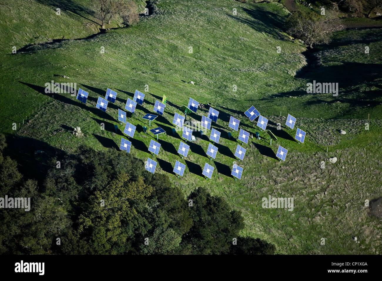 solar panels Mayacamas Mountains Napa Valley California - Stock Image