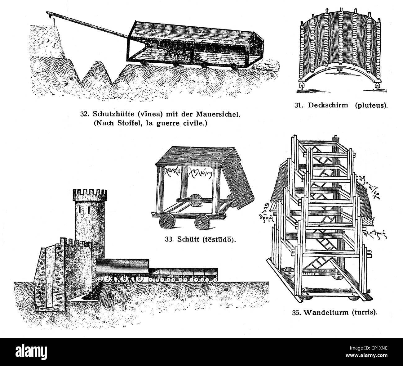 military, siege, Ancient World, Roman Empire, siege engines from the first century BC, wood engraving, after illustration - Stock Image