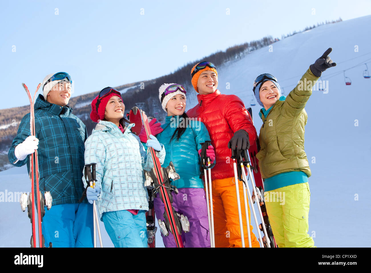 Young people going for skiing - Stock Image