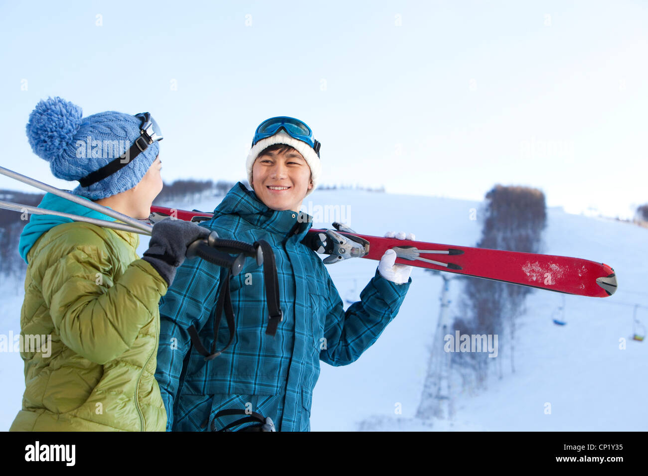 Young people going for skiing Stock Photo