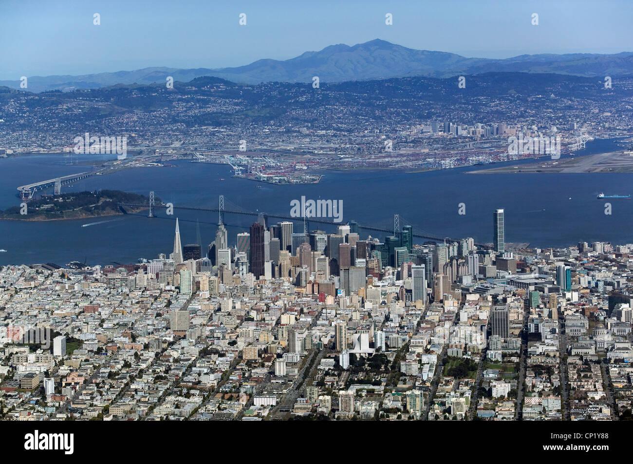 aerial photograph overview skyline San Francisco California toward Oakland and Mount Diablo - Stock Image