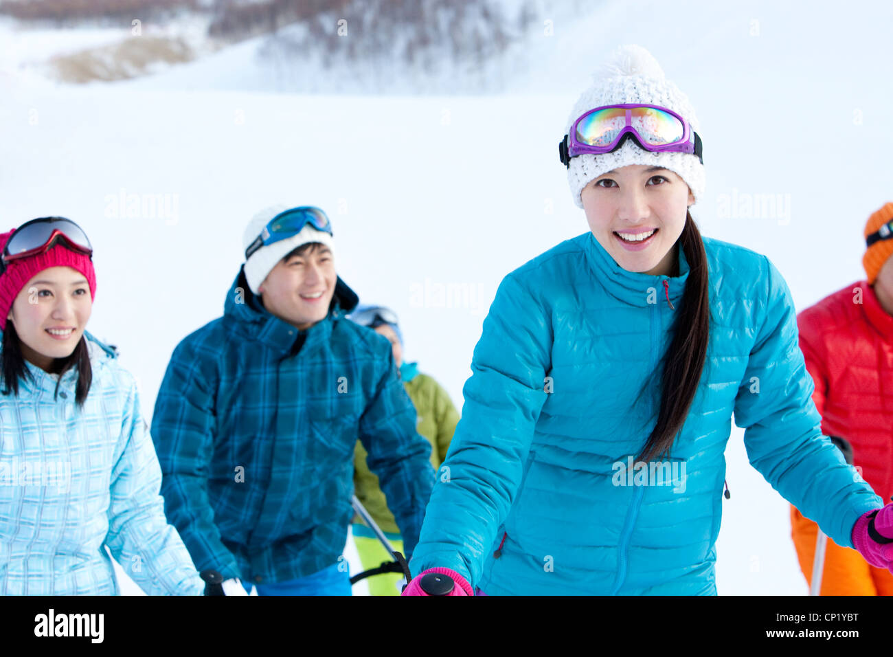 Young people in skiing resort - Stock Image
