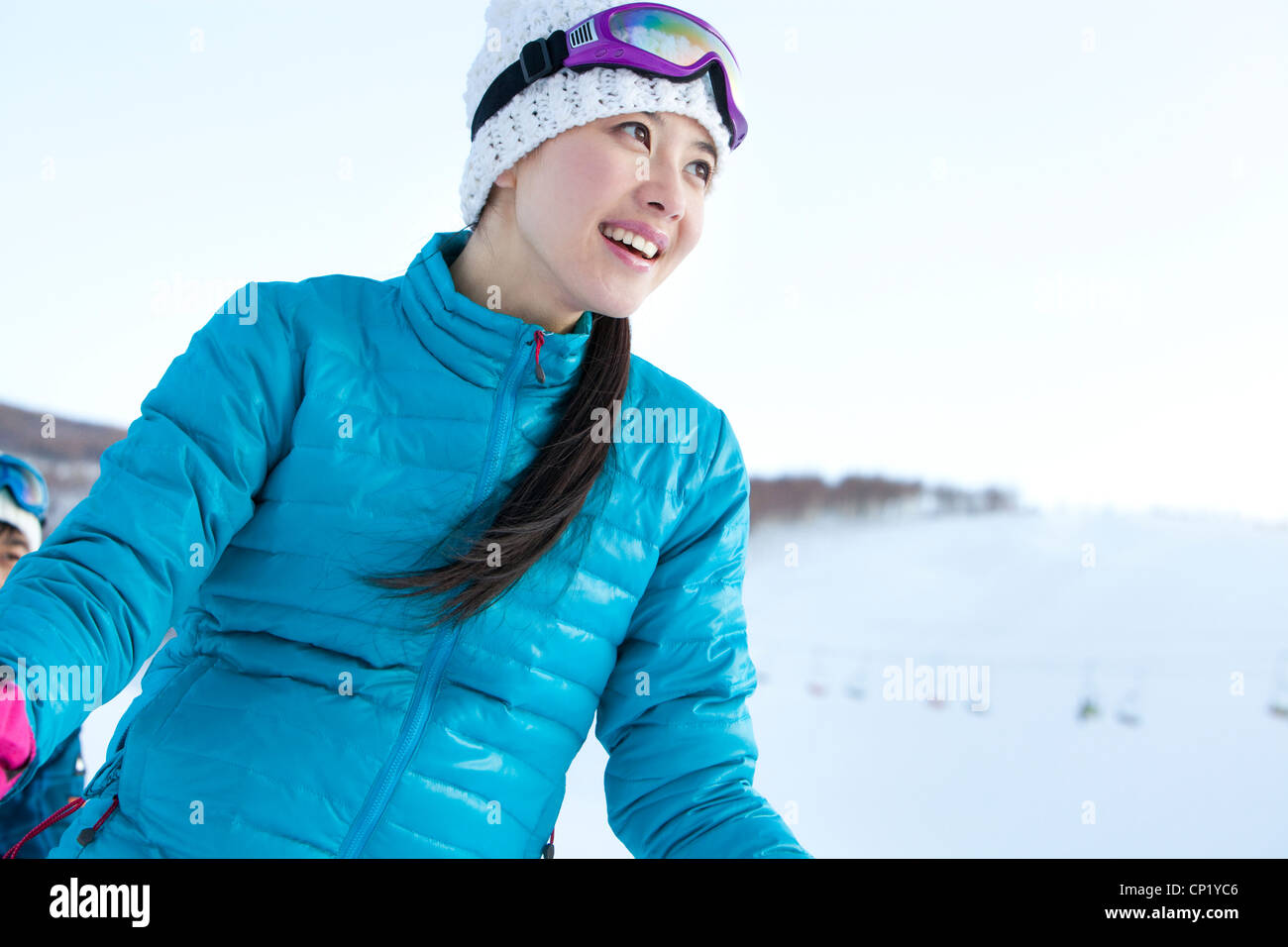 Young people in skiing resort Stock Photo