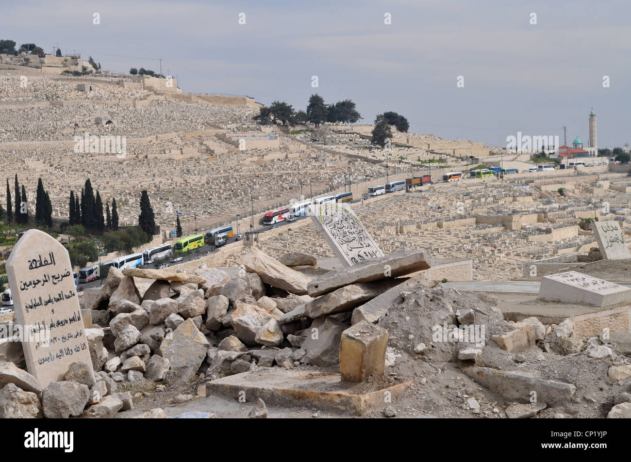 Occupied East Jerusalem with Muslim and Jewish graveyards and disputed holy sites. Jewish graves line the Mount - Stock Image
