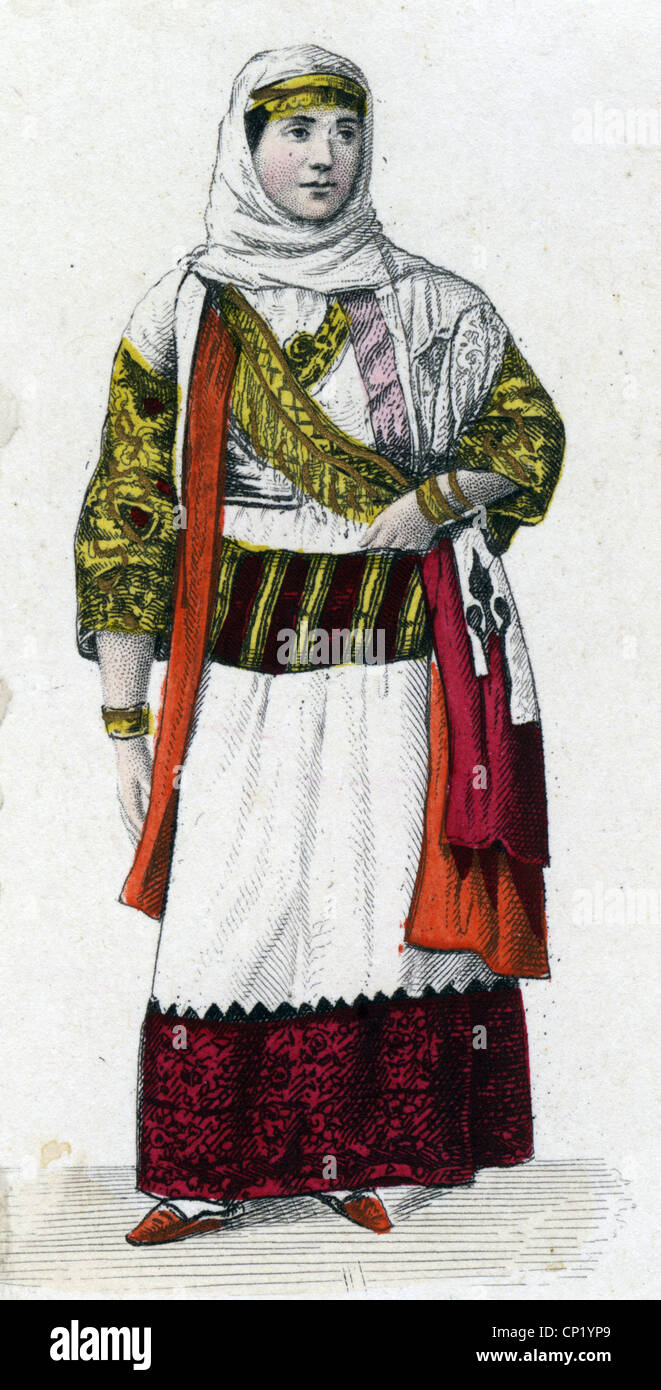 geography / travel, Greece, people, women, Albanian woman from Menidi, coloured steel engraving, circa 1860, Additional Stock Photo