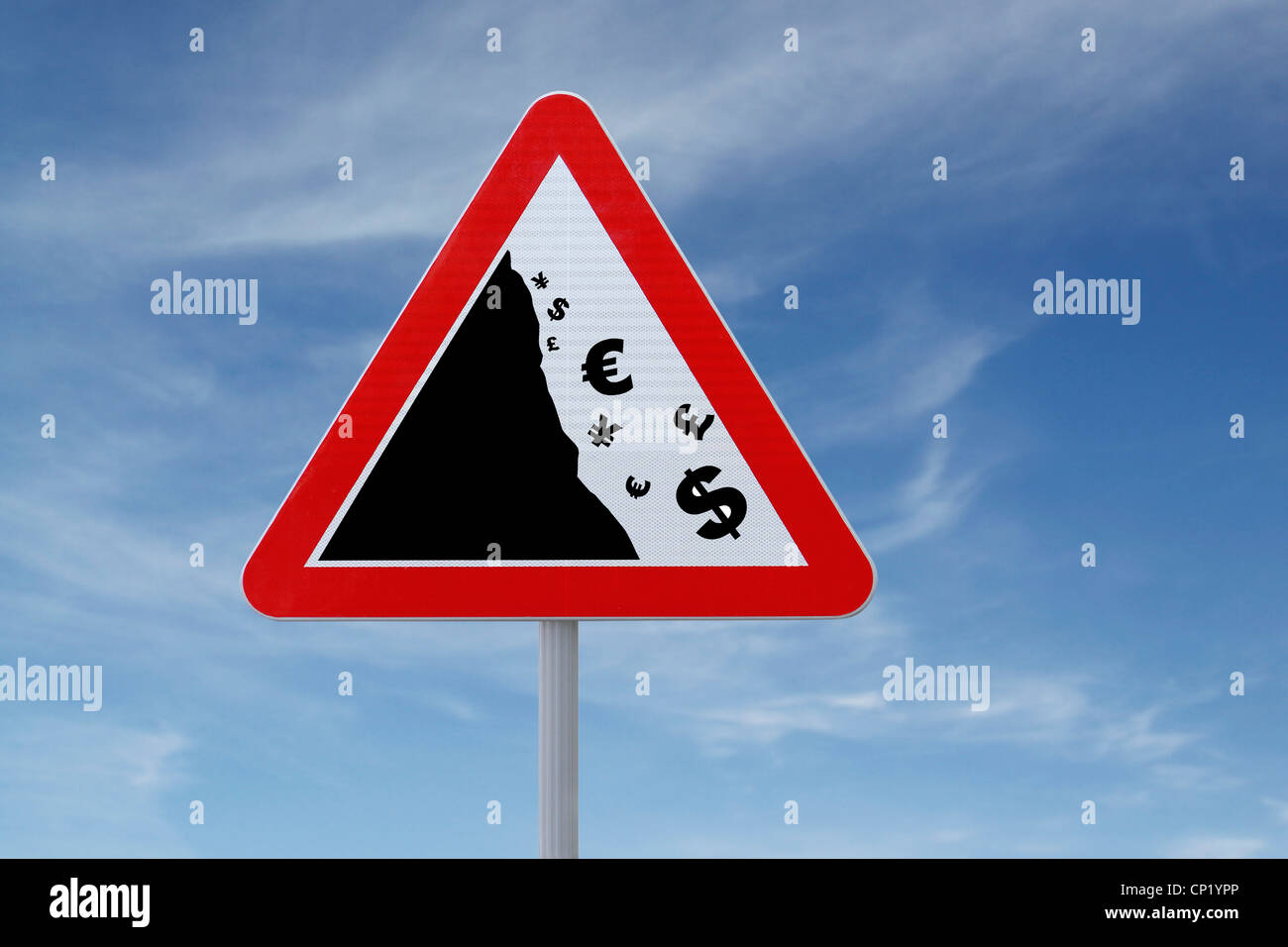 An actual road sign modified to imply a 'global financial crisis' (for business or financial concepts, with - Stock Image