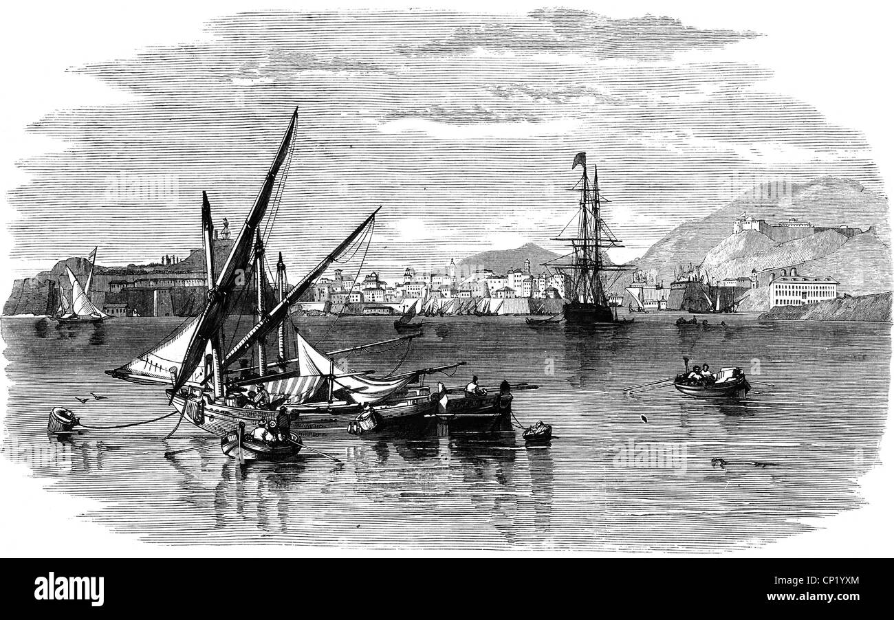 geography / travel, Greece, isle, Corfu, city Corfu, view, harbour, wood engraving, 1859, Additional-Rights-Clearences - Stock Image